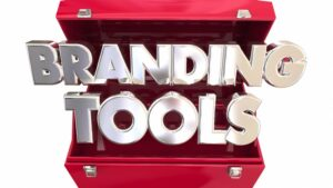 """a toolbox with the words """"branding tools"""" emerging from within."""