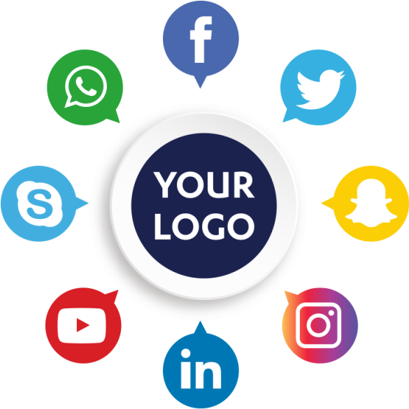 """a collection of icons for social media pages organized in a circle around a circle that says """"your logo"""""""
