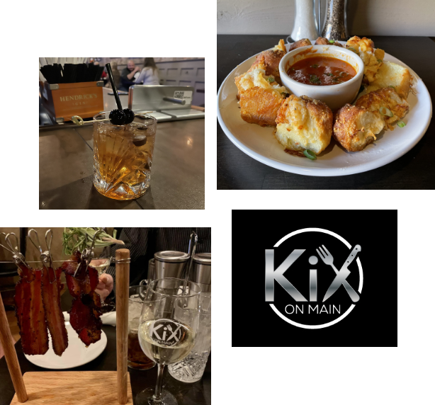 kix array of photos detailing the fine food they serve