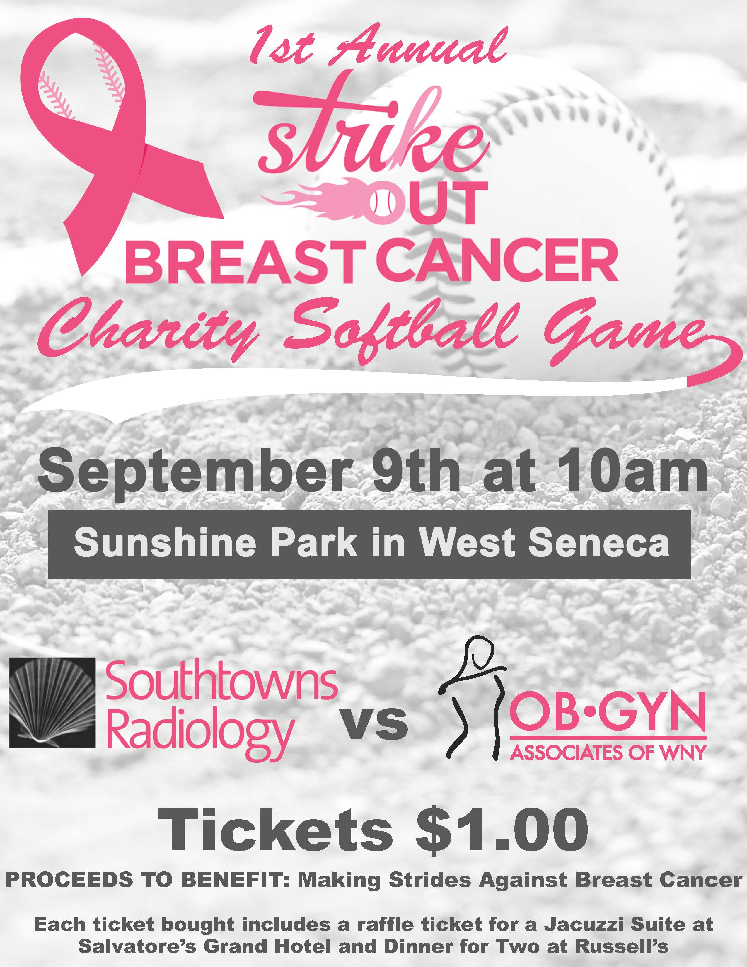 A flyer for our Charity Softball Game taking place on September 0th at 10am in Sunshine Park in West Seneca.