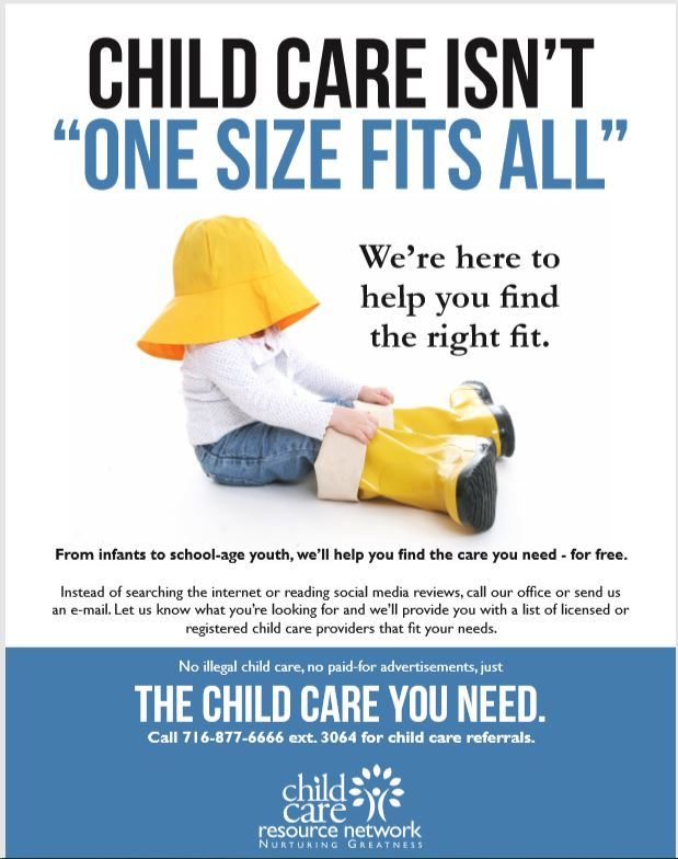 "Childcare Resource Network flyer with a baby putting on an oversize raincoat and the tagline ""one size fits all"""