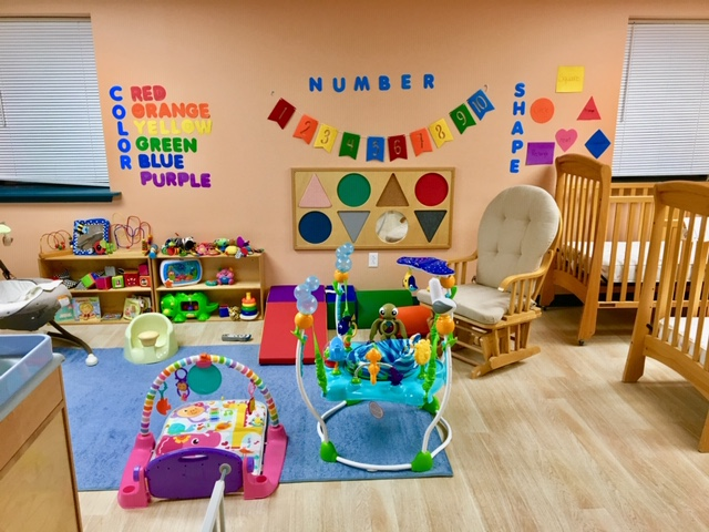 A colorful playroom in a daycare