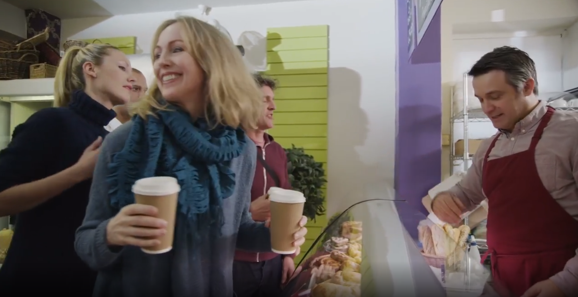 video background showing customers in a restaurant