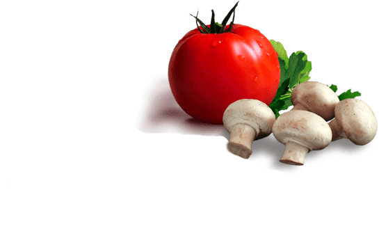 Fresh tomatoes and mushrooms