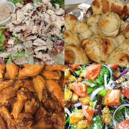 A quad of images of food, from a chicken salad to garlic knots to buffalo chicken wings to a regular salad.