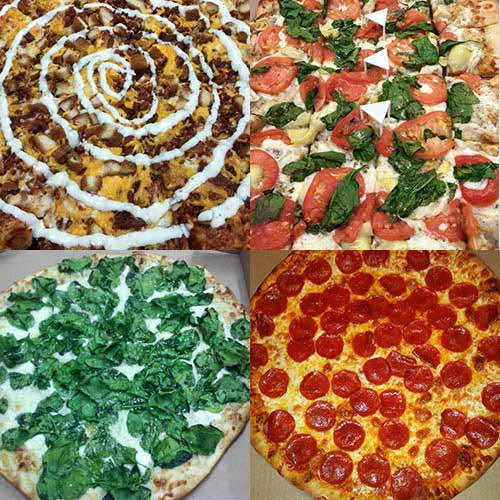 A quad of images of pizza, from a chicken-bacon-ranch, to a margherita to a spinach to a pepperoni.