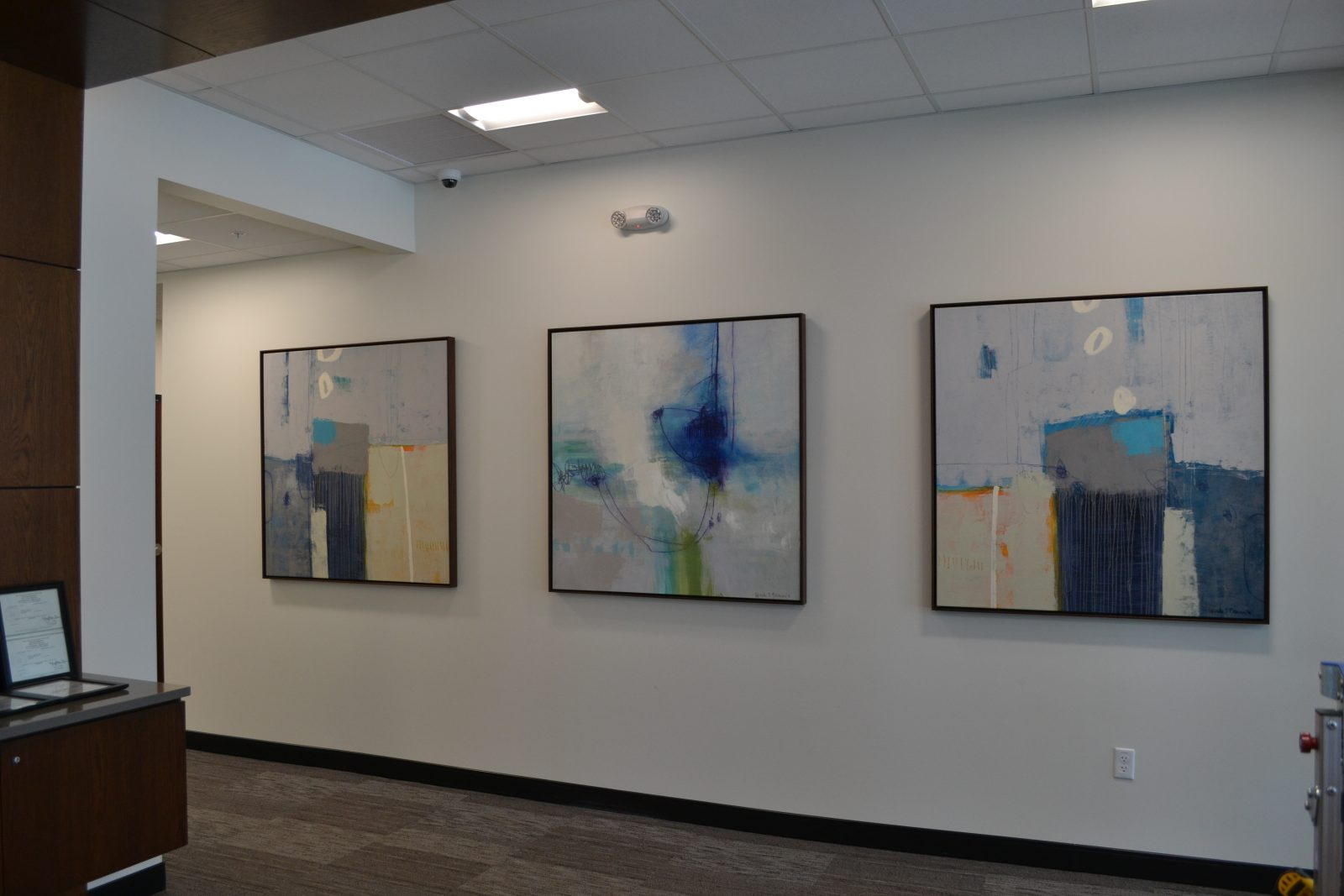 framed paintings on the wall of an office building