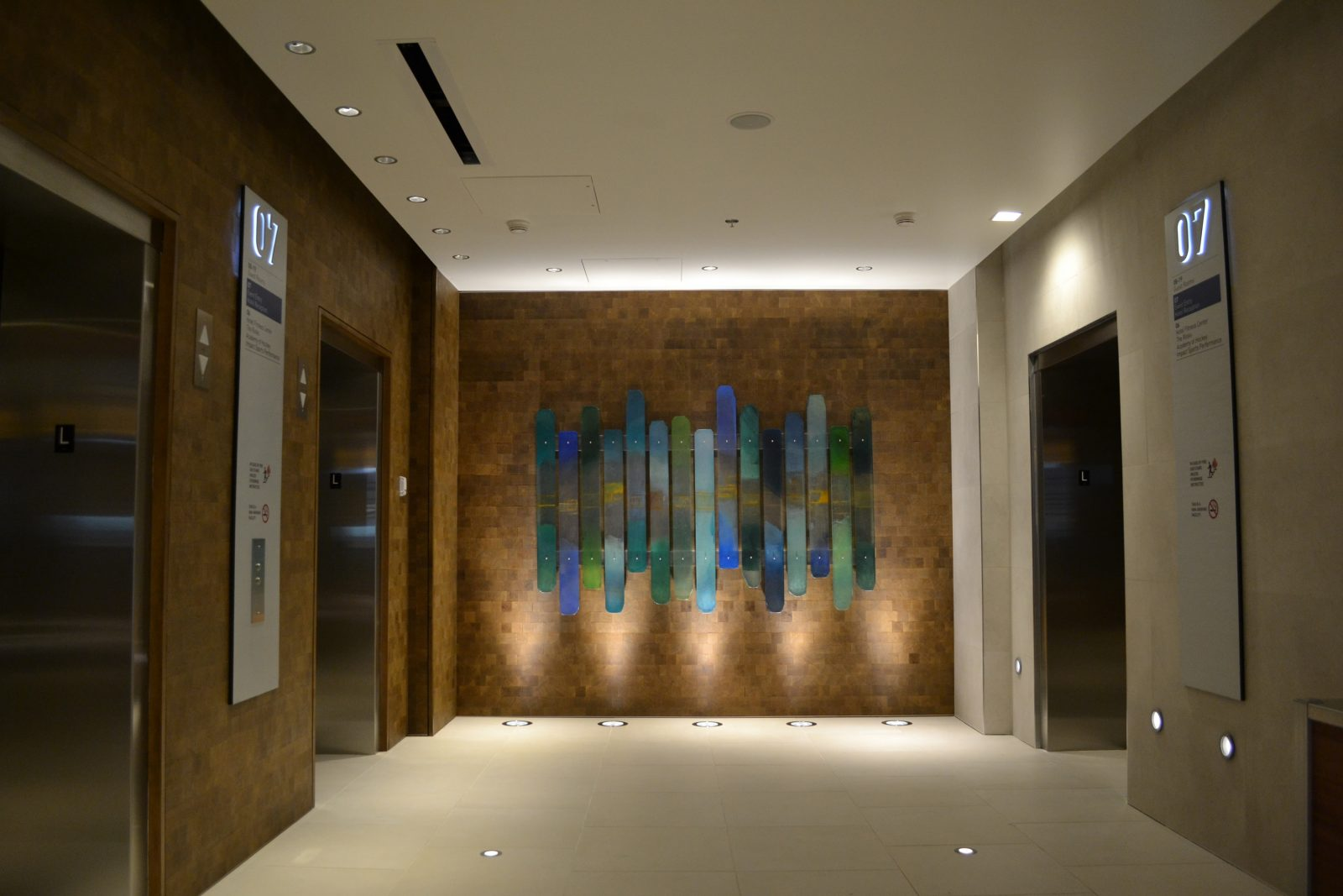 abstract artwork on the wall of a marriott hotel