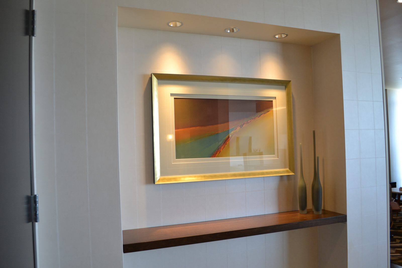 framed artwork in a hotel room