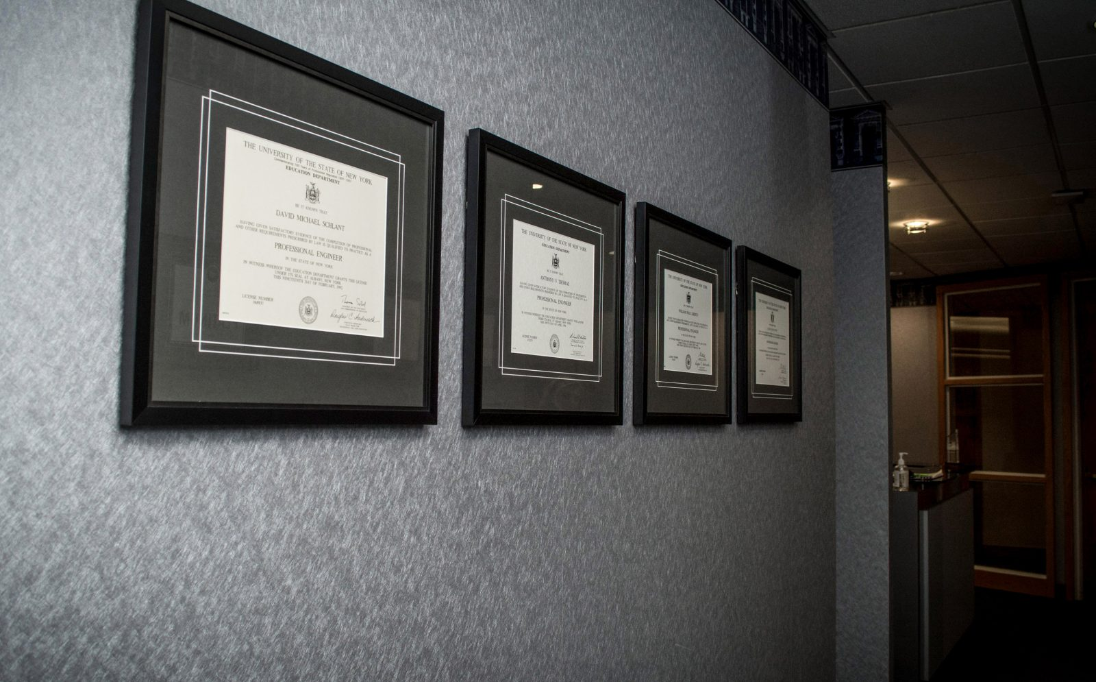 framed certifications from the state of New York