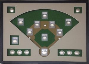 Baseball Coins Shadow Box Frame with Custom Design Mattes