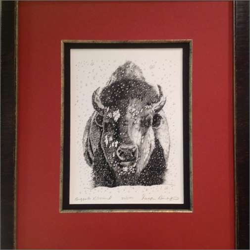 Buffalo Print framed with red matte fillet and black matte