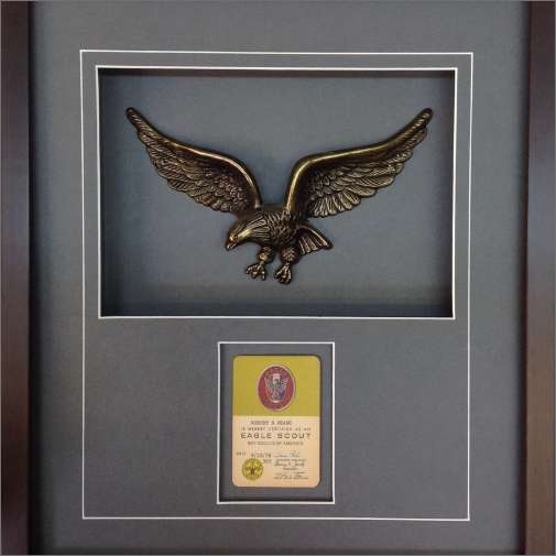 Custom frame of Eagle Scout memorabilia and award