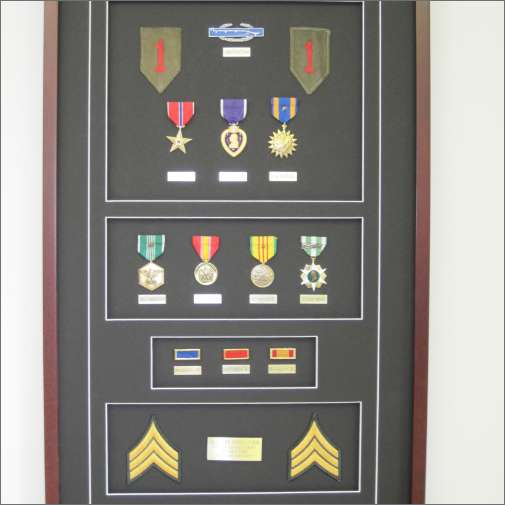 Military Medals Frame and Mattes in Shadow Box