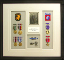 Military Medals and Awards Mounted and Framed in Shadow Box