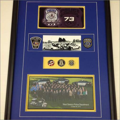 Police dept. award, framed with floats, spacers, vgroove and double mattes
