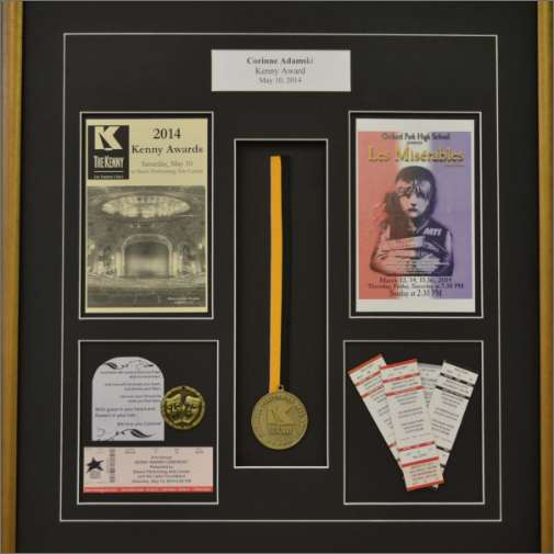 Shadow box with theatre memorabilia