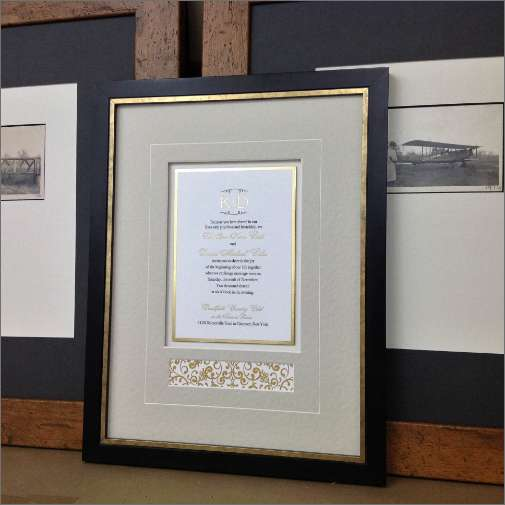 Wedding Invite Framed with Matte Spacers and Vgroove