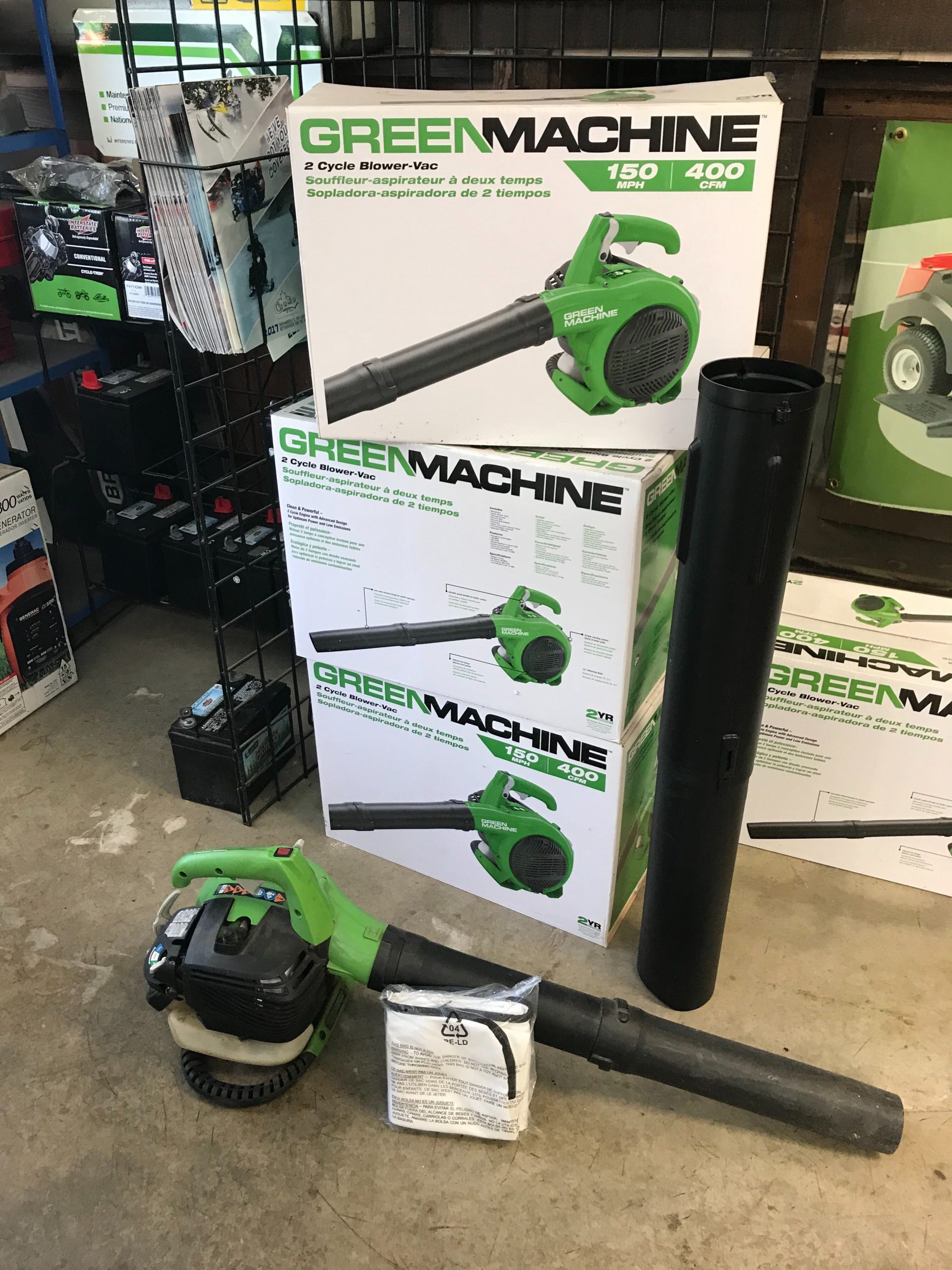 some green machine leaf blowers at the store
