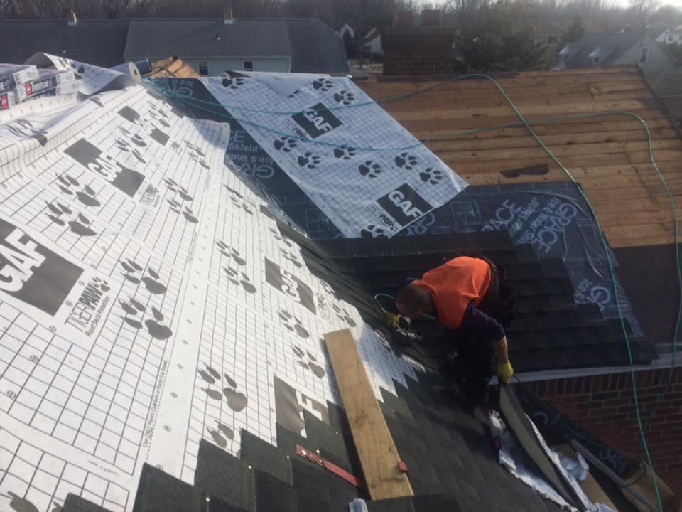 A roofer at work.