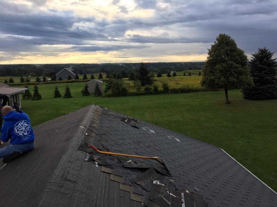 A roof in-progress.