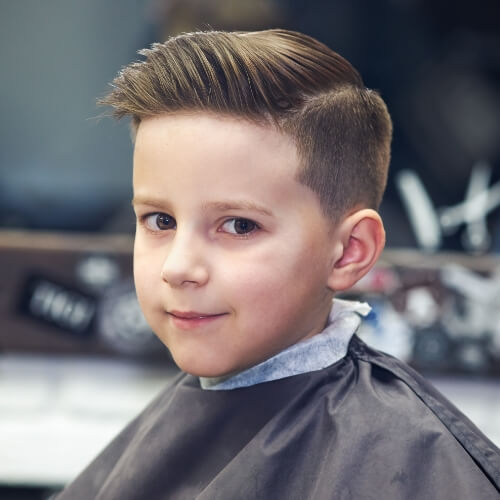 a kid with a new haircut