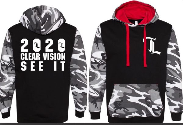 "A stylish hoodie with a black/white/gray camouflage pattern sleeves and hood. The back and front are solid black, and the back has the words ""2020. Clear Vision. See it."" in large all-caps white letters. The front has the TeamLift ""TL"" logo on the left breast. The inside of the hood and the pull-strings are bright red."
