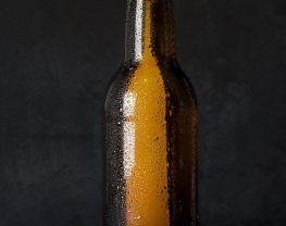 Glistening beer bottle