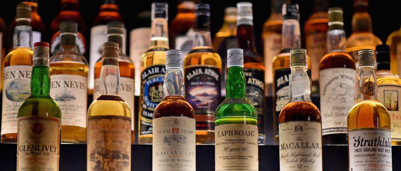 A shelf of liquor bottles