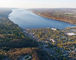 Aerial view of scenic lake and surrounding town