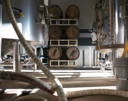 Interior view of brewery, with large equipment