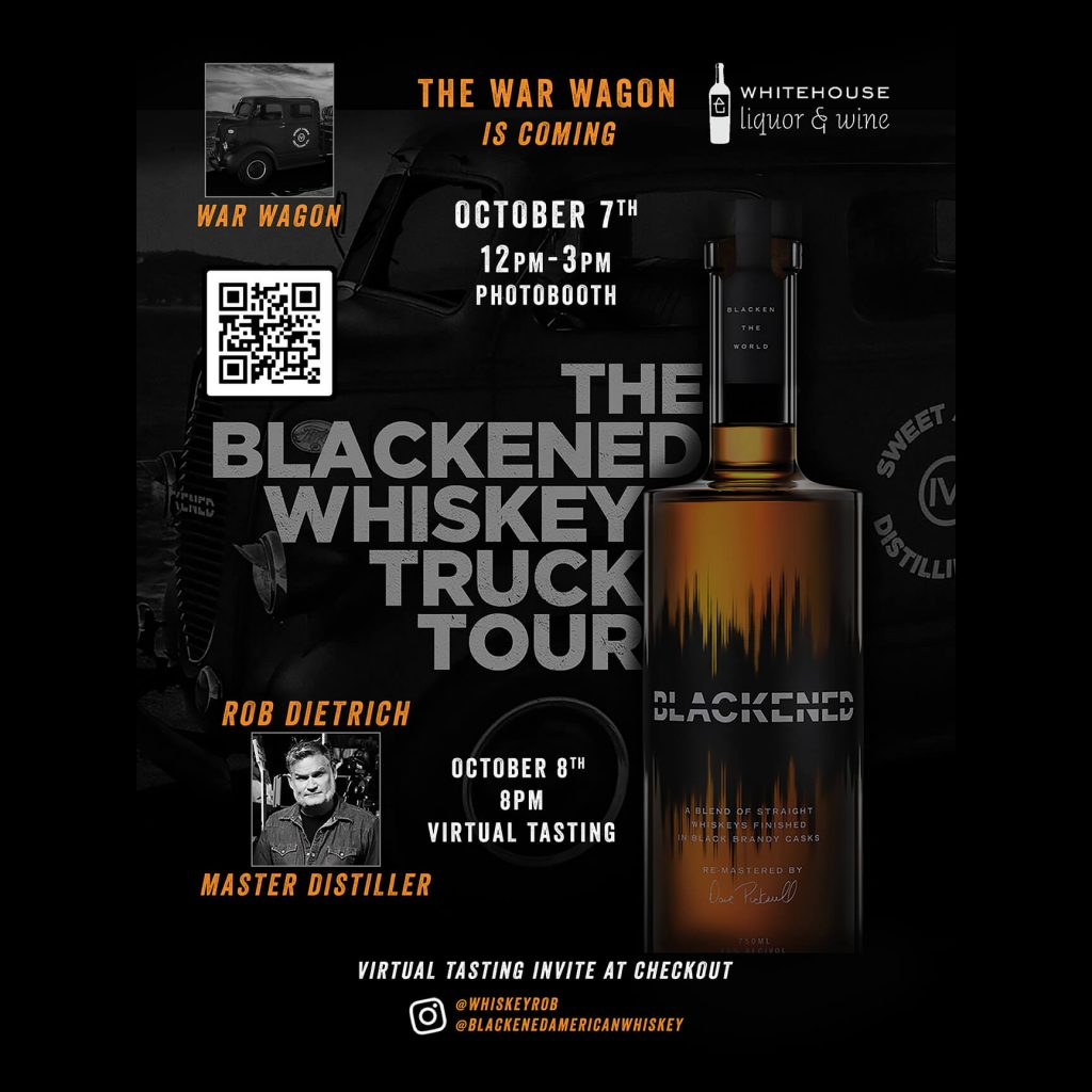 a graphic advertising the blackened whiskey truck tour october 7th and 8th